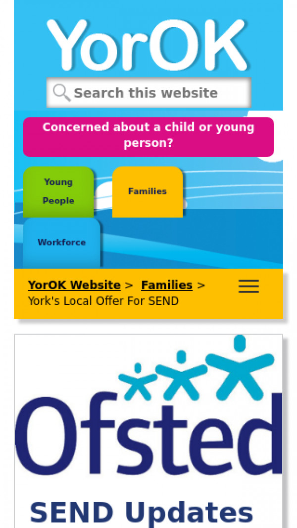 Mobile screenshot of York Local Offer website