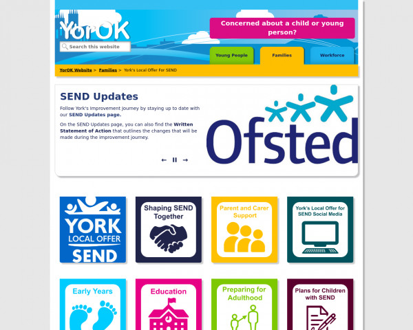 Desktop screenshot of York Local Offer website