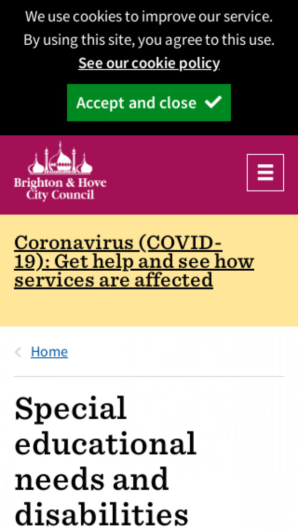 Mobile screenshot of Brighton and Hove Local Offer website