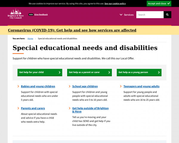 Screenshot of Special educational needs and disabilities