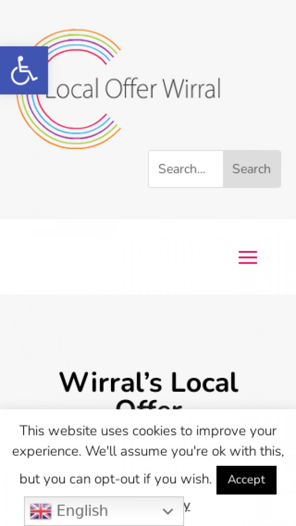 Mobile screenshot of Wirral Local Offer website