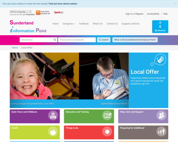 Screenshot of Local Offer | Sunderland Information Point