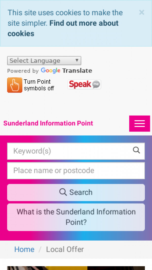 Mobile screenshot of Sunderland website