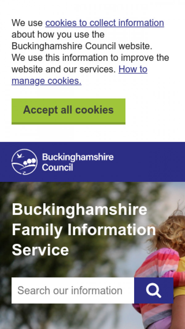 Mobile screenshot of Buckinghamshire Local Offer website