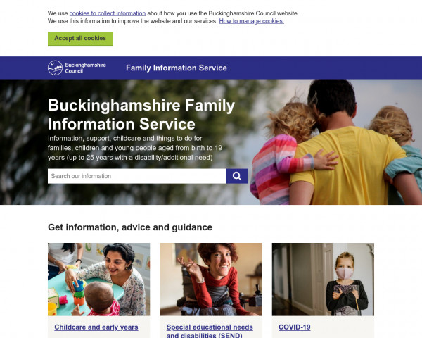 Desktop screenshot of Buckinghamshire Local Offer website