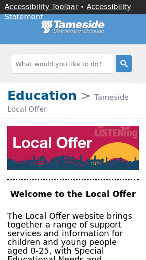 Mobile screenshot of Tameside Local Offer website
