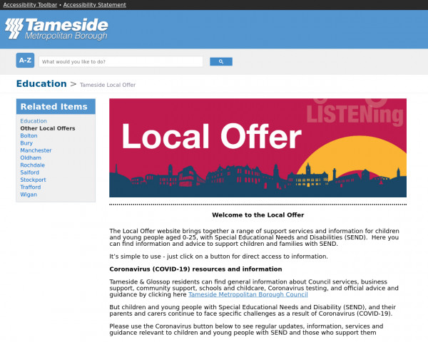 Desktop screenshot of Tameside Local Offer website