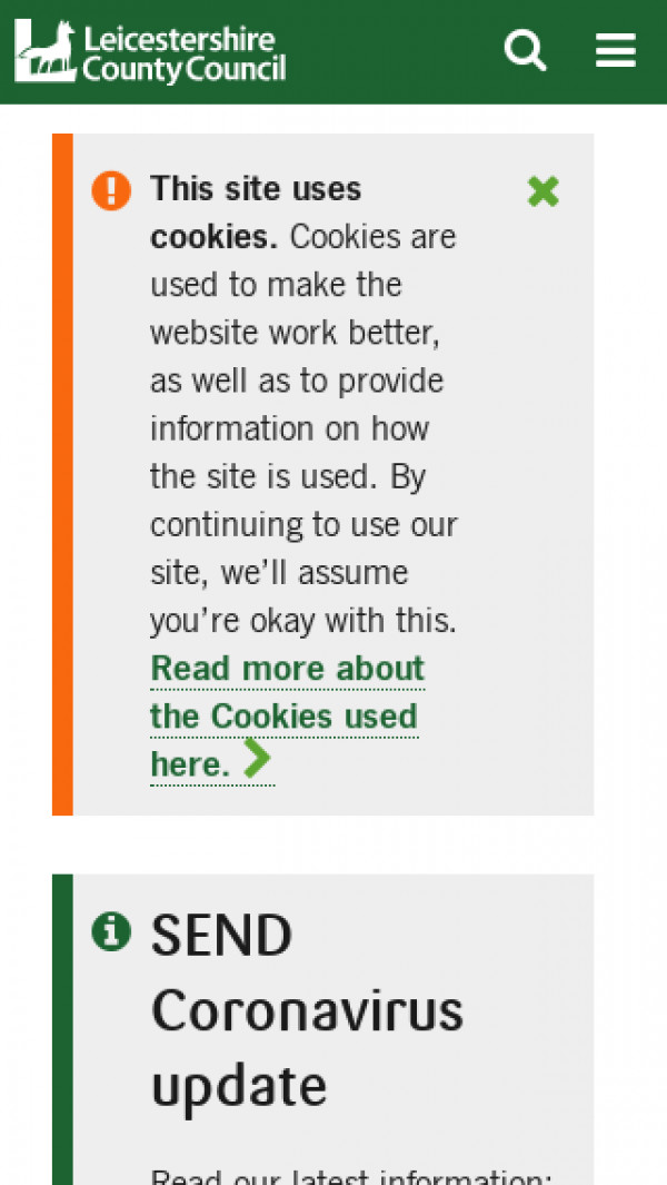 Mobile screenshot of Leicestershire website