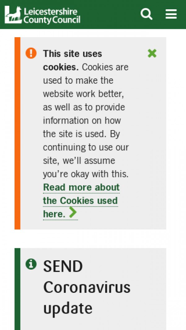 Mobile screenshot of Leicestershire Local Offer website