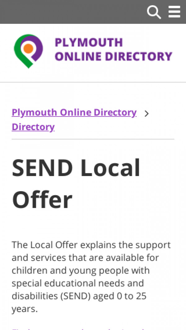 Mobile screenshot of Plymouth Local Offer website