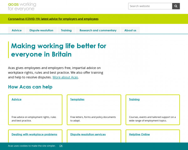 Screenshot of Acas | Making working life better for everyone in Britain
