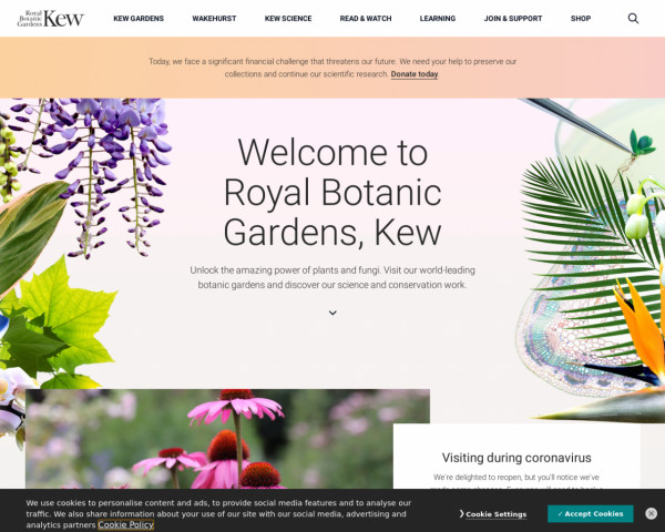 Desktop screenshot of Royal Botanic Gardens Kew website