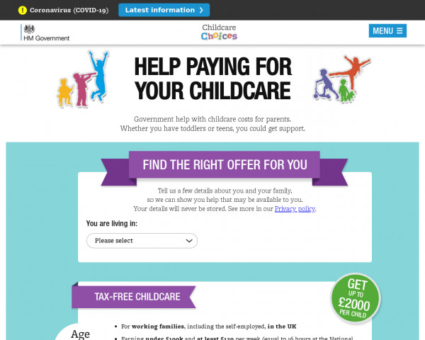 Screenshot of Childcare Choices | 30 Hours Free Childcare, Tax-Free Childcare and More | Help with Costs | GOV.UK