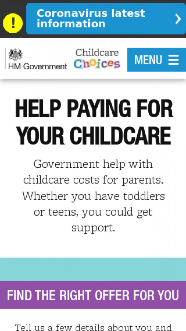 Mobile screenshot of Childcare choices website
