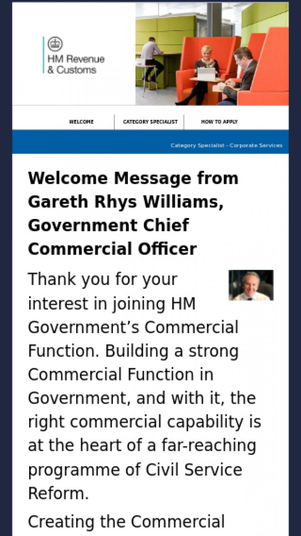 Mobile screenshot of HMRC Commercial Specialist Roles website