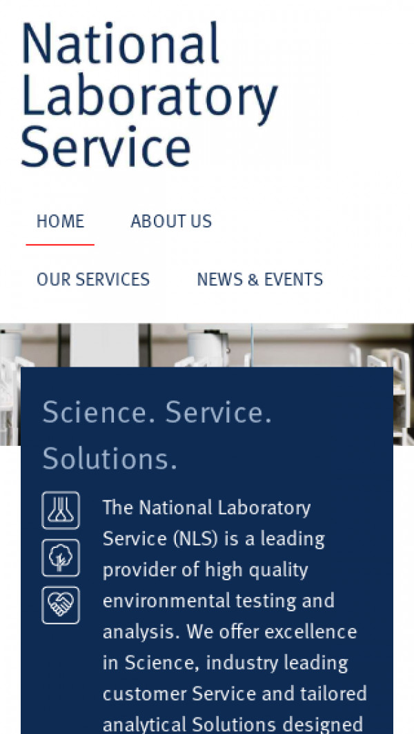 Mobile screenshot of National Laboratory Service website