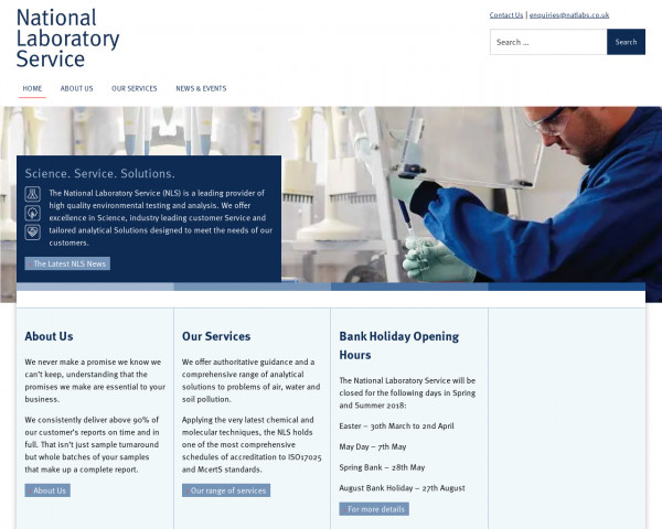 Desktop screenshot of National Laboratory Service website