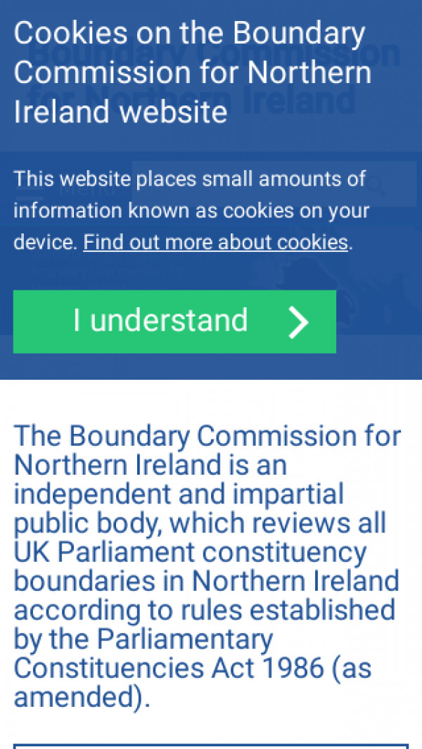 Mobile screenshot of Boundary Commission for Northern Ireland website