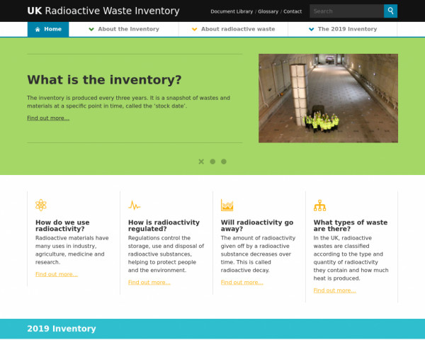 Desktop screenshot of UK Radioactive Waste Inventory website