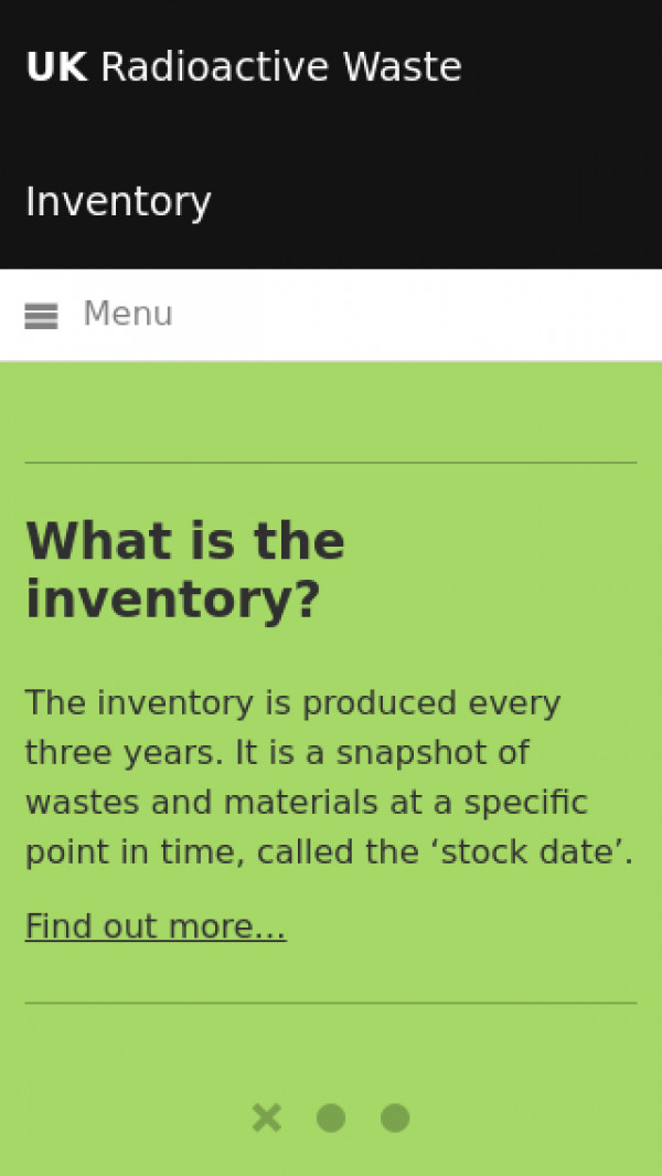 Mobile screenshot of UK Radioactive Waste Inventory website