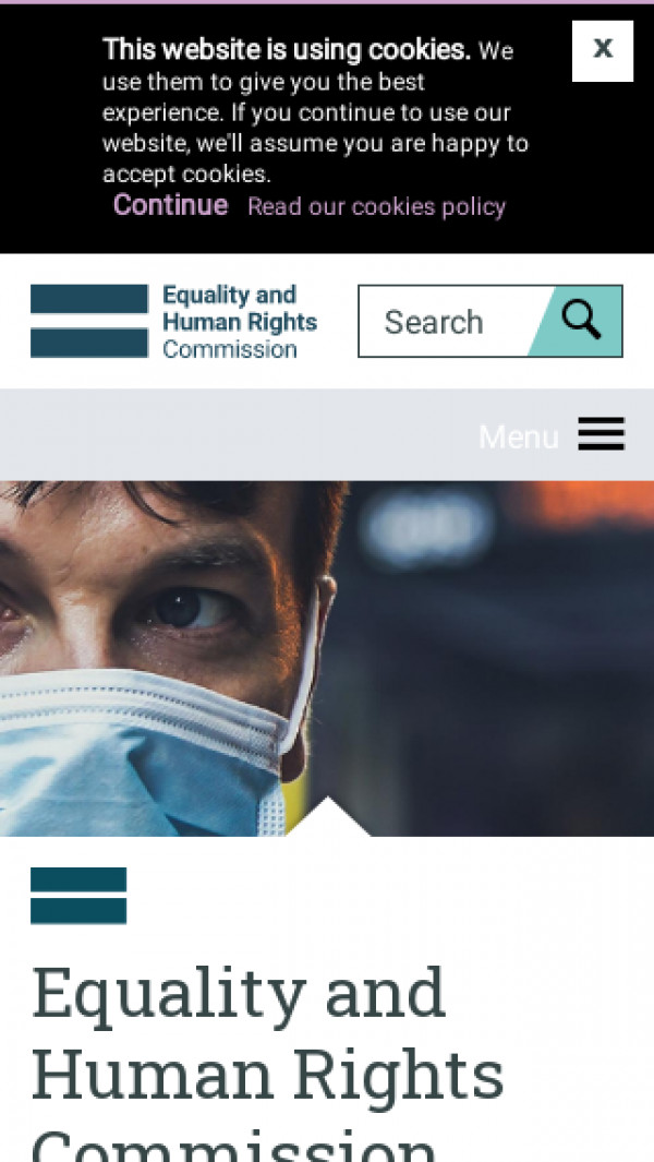 Mobile screenshot of Equality and Human Rights Commission website
