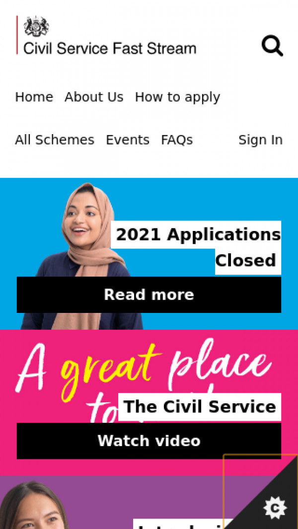 Mobile screenshot of Civil Service Faststream website