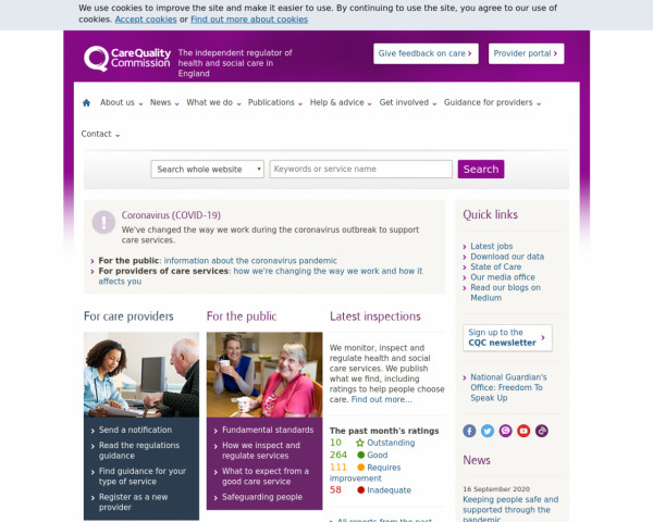 Desktop screenshot of Care Quality Commission website