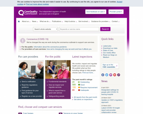 Screenshot of Care Quality Commission