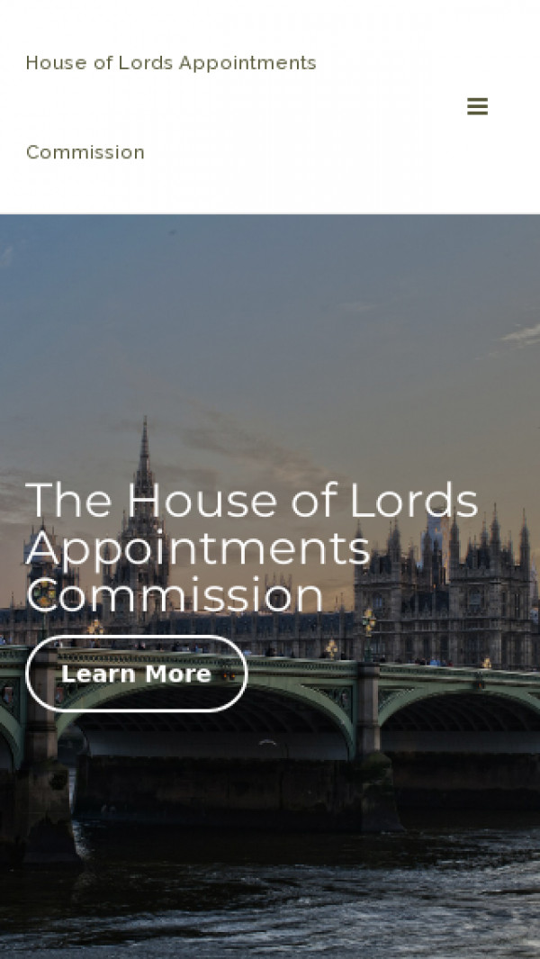 Mobile screenshot of House of Lords Appointments Commission website