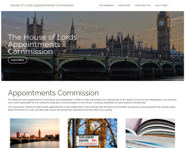 Desktop screenshot of House of Lords Appointments Commission website