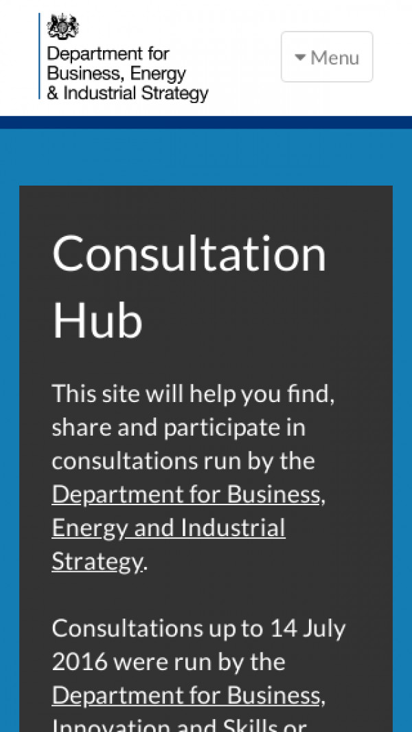 Mobile screenshot of BEIS Consultation Hub website