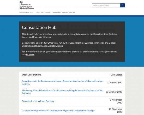 Desktop screenshot of BEIS Consultation Hub website