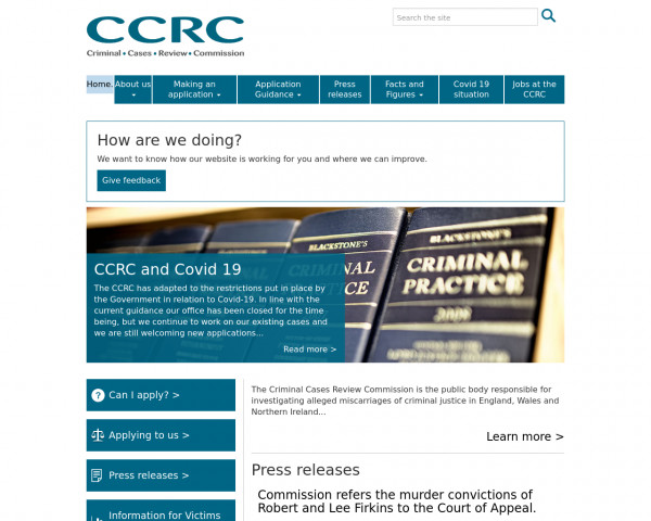 Desktop screenshot of Criminal Cases Review Commission website