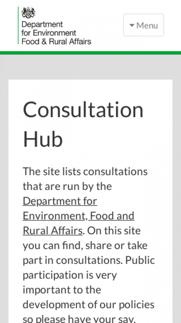 Mobile screenshot of Department for the Environment Food and Rural Affairs Consultation Hub website