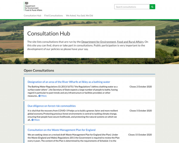 Desktop screenshot of Department for the Environment Food and Rural Affairs Consultation Hub website