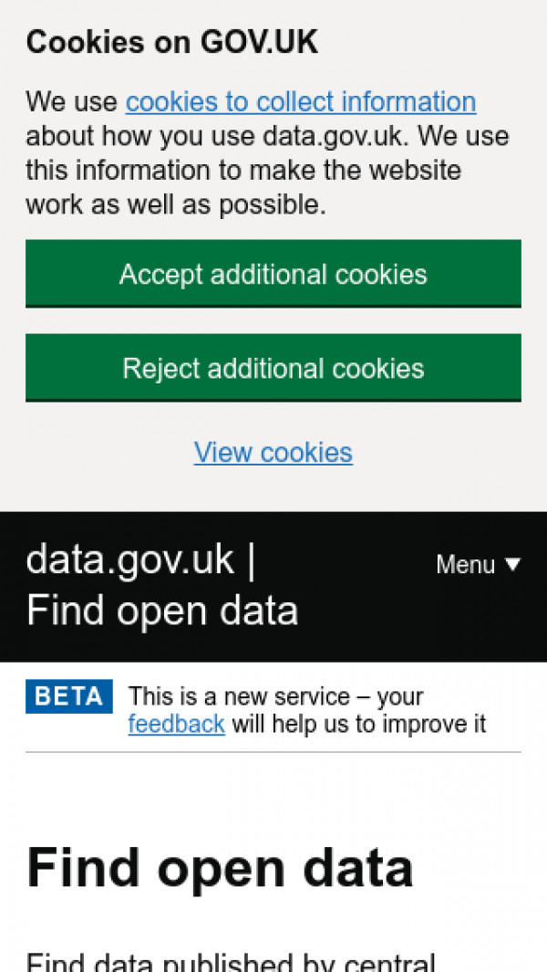 Mobile screenshot of Data website
