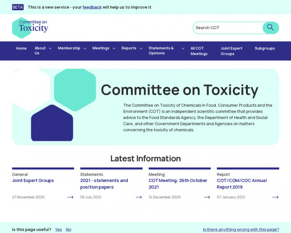 Desktop screenshot of Committee on Toxicity of Chemicals in Food, Consumer Products and the Environment website