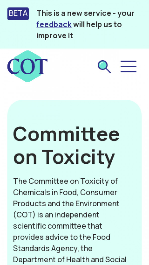 Mobile screenshot of Committee on Toxicity of Chemicals in Food, Consumer Products and the Environment website