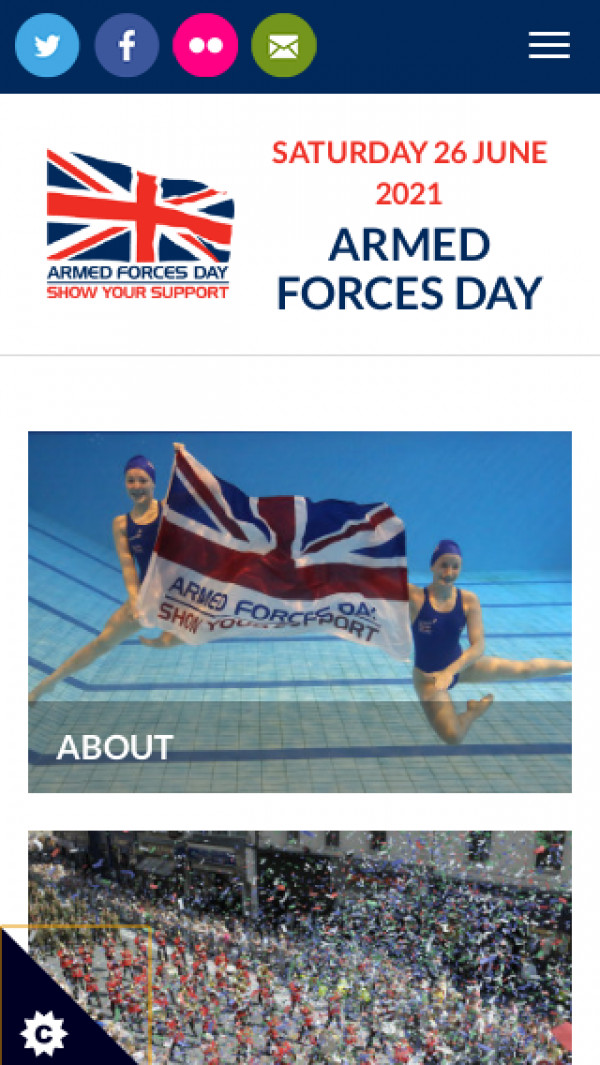 Mobile screenshot of Armed Forces Day website