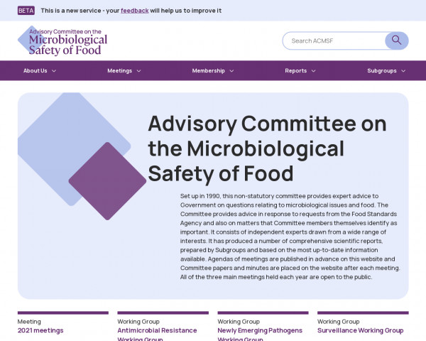 Desktop screenshot of Advisory Committee on the Microbiological Safety of Food website