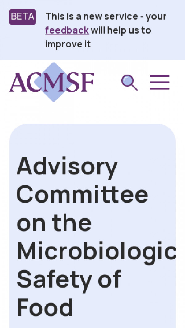 Mobile screenshot of Advisory Committee on the Microbiological Safety of Food website
