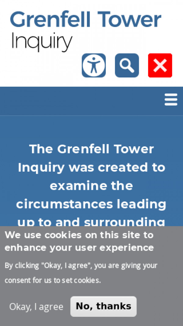Mobile screenshot of Grenfell Tower Inquiry website
