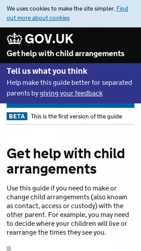 Mobile screenshot of Get help with child arrangements website