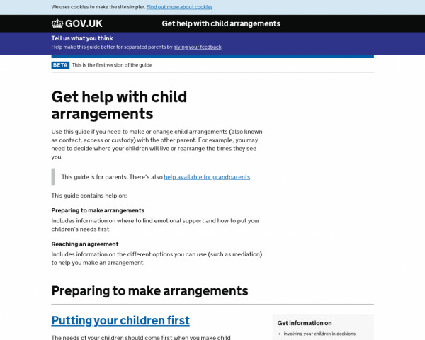 Screenshot of Get help with child arrangements