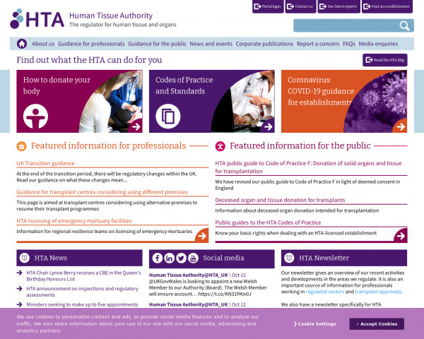 Screenshot of Find out what the HTA can do for you | Human Tissue Authority