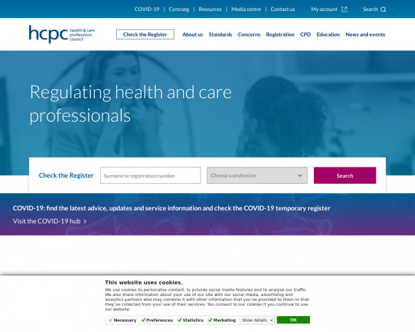 Screenshot of The Health and Care Professions Council (HCPC) |