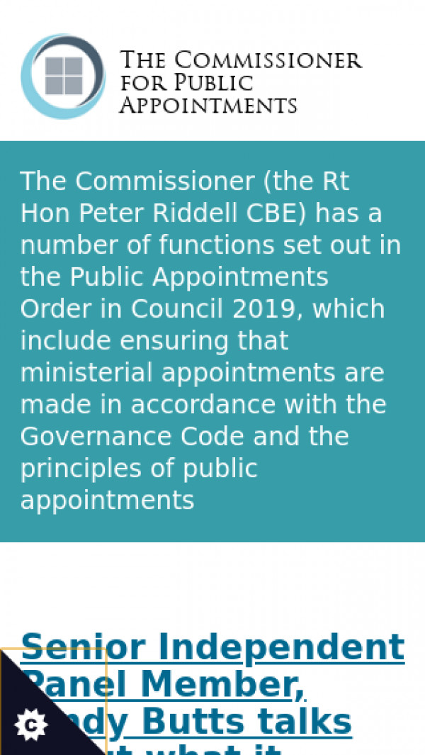 Mobile screenshot of Commissioner for Public Appointments website