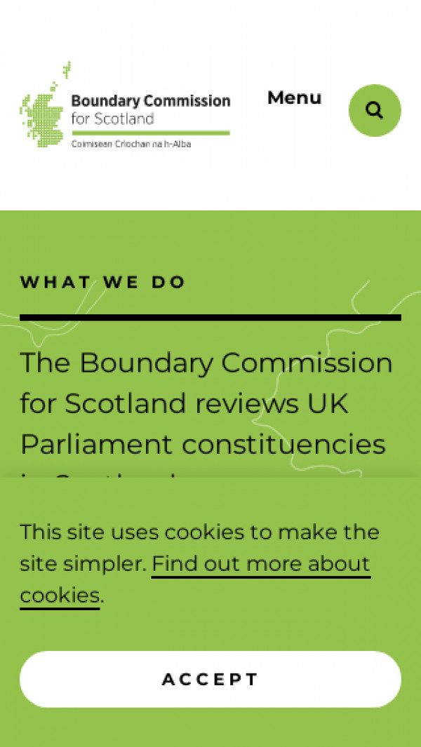 Mobile screenshot of Boundary Commission for Scotland website
