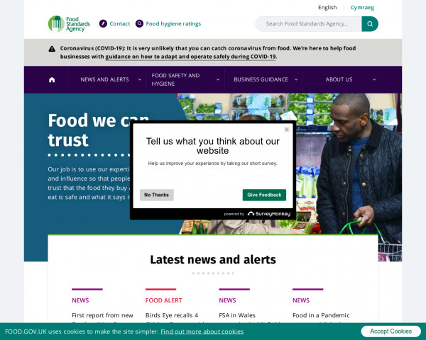 Desktop screenshot of Food Standards Agency website