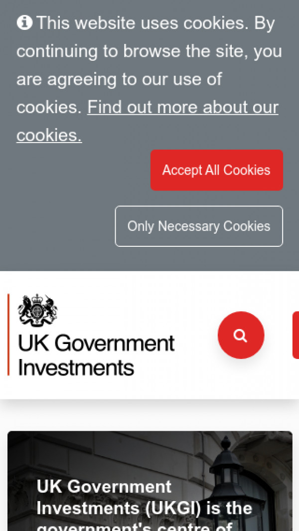 Mobile screenshot of UK Government Investments website